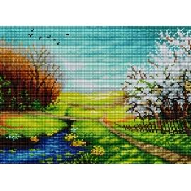 Haft krzyżykowy - do wyboru: kanwa z nadrukiem, nici Ariadna/DMC, wzór graficzny - 4 pory roku - wiosna (No 7181) VI