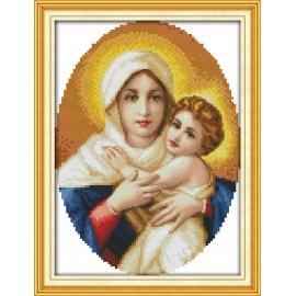 Haft krzyżykowy - Matka Boska z synem - zestaw do haftu