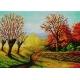 Haft krzyżykowy - do wyboru: kanwa z nadrukiem, nici Ariadna/DMC, wzór graficzny - 4 pory roku - jesień (No 7183)