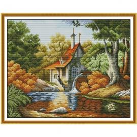 Haft krzyżykowy - Jesienny pejzaż z domkiem - zestaw do haftu